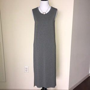 Madewell sleeveless grey dress w/side slits.